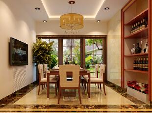 设计理念:做为就餐区域的餐厅,其氛围的塑造是极其重要的。餐厅的设计不仅要体现新中式的风格,更要体现饮食文化。布置好餐厅,既能创造一个舒适的就餐环境,还会使居室增色不少。 亮点:木制餐桌、木布结合的餐椅搭配中式风格的吊灯,塑造了一个传统的中式就餐环境。,