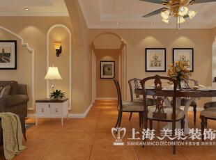 意墅蓝山三室两厅美式案例效果图——走道布局图,以调色乳胶漆和石膏板拱形造型的完美相结合美式的柔美。,