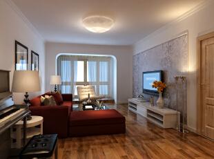 """设计理念:一个房子住着是不是舒服,关键在客厅。用木质材料与石材相结合最大限度将空间扩大,融入中式元素。另外运用材质巧妙分割空间,而又不显得突兀,让整个空间浑然一体。 亮点:将客厅改到进门的地方,整个视野特别开阔。电视背景是以石材为主体的半高墙,颜色用稍偏米黄正好屏蔽了石材冰冷的特点,侧边是木质和茶镜想相结合让人觉得稳定温馨。直线装饰在空间中的使用,不仅反映出现代人追求简单生活的居住要求,更迎合了中式家具追求内敛、质朴的设计风格,使""""新中式""""更加实用、更富现代感。,"""