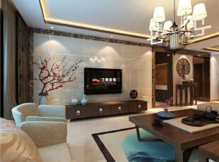 作为突出效果的影视墙,采用了凹凸造型,材质用了天然进口大理石,给新中式风格增添了大气奢华的效果。,