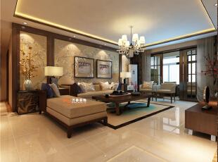沙发墙采用了中规中矩的手法,轻装修重装饰。,