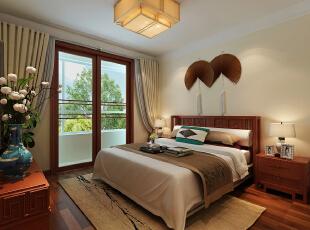 床头背景墙的挂扇使得卧室更显品位和格调。,