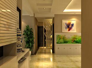 设计理念:客户是比较喜欢干净的,所以整个颜色以亮色系为主,整个空间采用小砖显得空间比较的大气。 设计亮点:一进门是鱼缸,让客厅有点温馨,整个空间采用了地砖,是整个客厅更亮堂一些更温馨一些。,