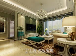 锦艺轻纺城89平三室两厅简欧装修效果图案例——电视背景墙,采用硬包加白色木制线条。 ,