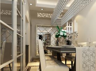餐厅的空间讲究对称且划分简单合理,给了主人们更充裕的自由活动空间,搭配绿植,家庭氛围更加愉悦。菱形镜子搭配相框,从而放大整个空间,于是有了和LED灯一起打造的嵌入式鞋柜,配合顶照的弧形灯光,璀璨别致,