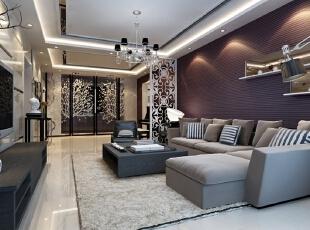 客厅用天花吊顶和雕花隔断对空间区域进行了划分,雕花隔断选用白色,在这个以暖色为主调的客厅里显得清新浪漫。暗紫色的条纹壁纸铺满了整面墙,急需一些提亮的东西来装饰,于是有了镜面和LED灯一起打造的嵌入式壁橱,配合顶照的弧形灯光,璀璨别致。占据大面积的银灰色绒面沙发柔软奢华,和线条硬朗明快的深色木质电视柜、茶几一起玩味混搭。,