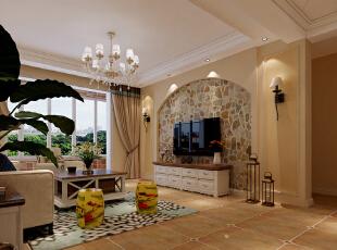 石家庄红石原著E5户型三室138平美式乡村装修效果图~客厅效果图展示,