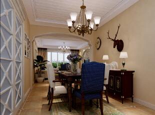 石家庄红石原著E5户型三室138平美式乡村装修效果图~餐厅效果图展示,