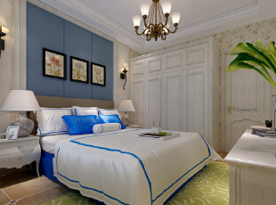 石家庄红石原著E5户型三室138平美式乡村装修效果图~卧室效果图展示,