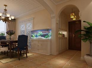 石家庄红石原著E5户型三室138平美式乡村装修效果图~玄关效果图展示,
