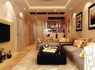 本户型家居装修设计效果,在空间的设计上首先是定位居室的风格,简洁的设计装饰出温馨的生活,从灯光、壁纸以及整体的装饰效果以暖色调为主的居室,以达到舒适宜人的居室氛围,让人倍感温暖。石家庄古运码头二期6号楼B户型三室87.83平简约效果图案例--客厅效果图展示,