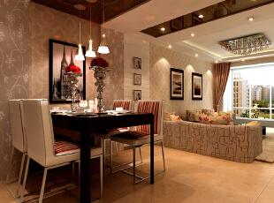 居室的整体空间属通透型,繁复感的花纹壁纸成就了整体空间的丰富效果,暖色的地面砖,搭配白色的执行墙面工艺设计,以及花型丰富的沙发靠枕,充满大自然的趣味感设计效果完全的融合在居室。石家庄古运码头二期6号楼B户型三室87.83平简约效果图案例--餐厅效果图展示,