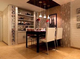 餐厅的部分,花纹的壁纸蔓延着整个墙面,而灯光恰到好处的渲染的氛围,搭配上简洁而舒适的餐桌椅,很是温馨浪漫,花型的镜面搭配到嵌入式的装饰柜设计上,让餐厅的设计充满简单实用的绚丽感。石家庄古运码头二期6号楼B户型三室87.83平简约效果图案例--餐厅效果图展示,