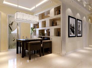 石家庄古运码头二期6号楼B户型两室87平现代简约效果图案例~餐厅整体装修效果图展示,
