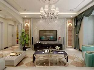 电视背景墙采用大理石的背景墙设计,采用精美的吊顶与华丽的水晶吊灯设计,温馨又华丽。--客厅整体装修效果图展示,