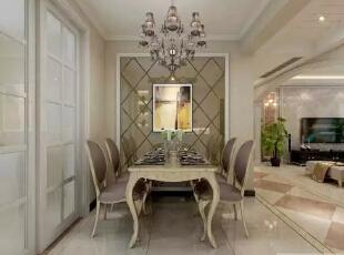 餐厅:华丽的水晶吊灯,浪漫的白烛台,放一曲欧洲小调,就这样静静的享受生活。--餐厅整体装修效果图展示,