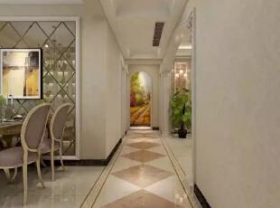 走廊拼贴的菱形瓷砖设计,很好的划分了区域。--玄关整体装修效果图展示 ,