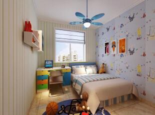 儿童房的部分,条形纹和卡通的壁纸蔓延着整个卧室墙面,而吊灯恰到好处的渲染的氛围 石家庄古运码头二期6号楼B户型三室87.83平简约效果图案例--卧室效果图展示,
