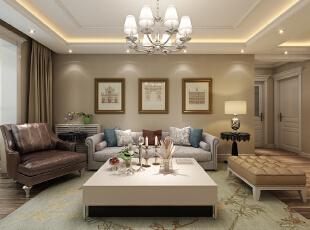 沙发背景墙采用了三副欧式的挂画,彰显出了一种现代风格的特点与效果。--想象国际南区120平三室+现代客厅装修效果图展示,