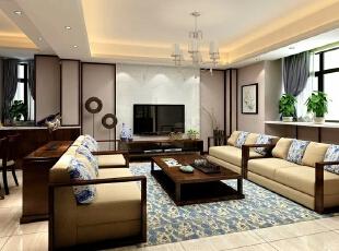 客厅整个空间用富含的青花做点缀,青花作品用其简练的夸张多变装饰手法以及精炼概括的纹样处理,表现出来一场丰富的艺术形式,