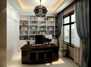 书房白色的书柜,配上绿色植物的点缀,使空间更自然,舒适,