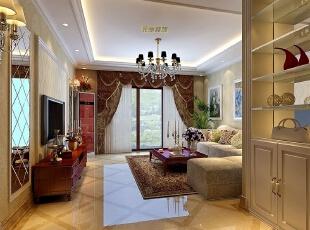 客厅设计上采用了石材背景墙体现欧式典雅大方,配以大花的壁纸让整个房间充满温馨的感觉,