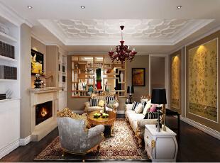 让带有肌理感的墙面搭配精致的雕花、混搭风格家具、大气的窗帘布艺、特色的装饰灯具、精美花纹的陶瓷、优美线条的铁艺装饰品,营造出华丽富贵的氛围,彰显出业主优雅、精致的生活品位和不凡的生活格调。,