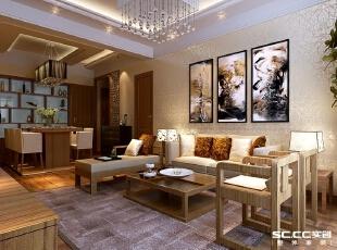 郑州实创装饰—锦绣山河110平三居—客厅设计,