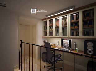 这是设计时画的过道书房的效果图,