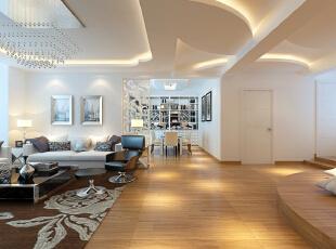 海滨小区160平跳动的时尚现代三居室-烟台实创装饰,
