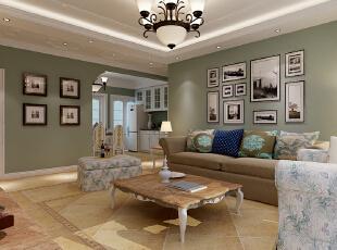 【石家庄长九中心公园9号】17号楼127平三室美式客厅装修效果图,
