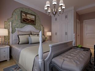【石家庄长九中心公园9号】17号楼127平三室美式卧室装修效果图,
