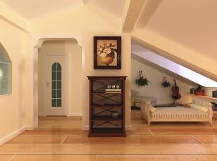 阁楼休闲区设计理念:业主喜欢音乐、吉他,根据需求此空间以乐器为主,干净简洁。亮点:整个空间吊顶层次分明,墙面整体大面积贴深色调的壁纸,配以白色调的衣柜使整个空间色彩分明。,