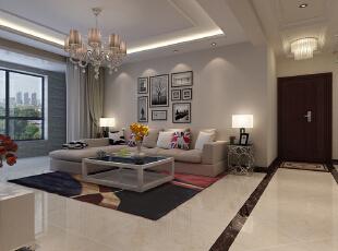 【石家庄博雅盛世装修】6号楼89.56平两室现代简约装修效果--客厅效果图展示,