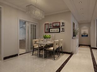 【石家庄博雅盛世装修】6号楼89.56平两室现代简约装修效果--餐厅效果图展示,