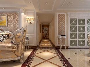 【石家庄紫林湾装修】紫林湾17号楼三室135平装修+(奢华欧式风格装修效果图)--玄关效果图展示,