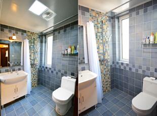 设计说明:卫生间的设计带有很浓厚的地中海风格特色,深浅蓝色墙地砖交叉铺贴,剔除了一成不变的直铺法,卫生间的洁具用品也十分的整洁干净。 ,