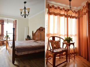 设计说明:主卧设计的十分温馨,颜色则以棕色为主,同样是美式混加中式,如,美式风格的床具,灯具,窗帘用品,落地窗户处摆设着中式木质圈椅,让空间更加的惬意。,