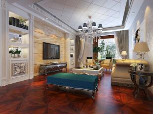 客厅空间整体规划,通过吊顶规划空间,背景墙使用大理石,使整体感觉更稳重!·,