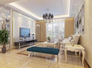客厅效果图,简单的回字形吊顶设计加上大理石的电视背景墙,