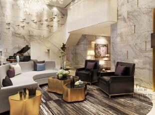 带着些朦胧图案的大理石让墙面变得生动起来,弧形的沙发有着极佳的舒适感,不规则图案的金色茶几,呼应家具的金色边框,给现代气息的客厅增添一些华丽感。,