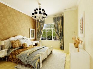 设计理念:简单石膏线吊顶的设计,暖色经典壁纸搭配,使整个空间更具层次感,不给人以突兀的感觉。  亮点:低调雅致的水晶灯、象牙白色经典欧式床、也使本案色彩干净、灵动、典雅、充满韵味。,