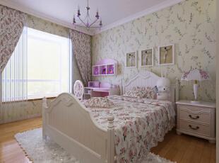 设计理念:卧室背景墙上花色壁纸与整体象牙白色的壁纸交相呼应,经典象牙白欧式家具的搭配,构建一个童话的世界,更加体现了设计师对配色的巧妙运用。 亮点:宽条实木地板的运用让原本线条的组合与墙,床交相呼应烘托一个欧式童话房间。 ,