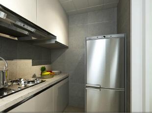 顶吸式的抽油烟机功率强劲,橱柜数量较多保证了厨房的收纳井井有条。 ,