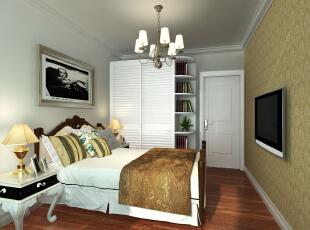 异形的床头柜和床头装饰画都是比较抢眼的。浅色的木质地板配合黑色的地毯,增加了卧室的优雅。 ,