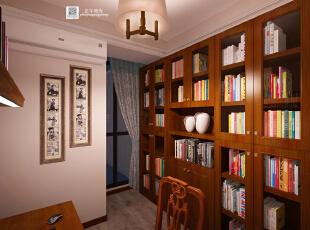 这是设计时画的书房效果图,