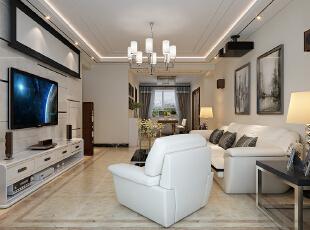 石家庄海棠湾1号楼A1户型三室129平现代装修效果图--客厅整体装修效果图,