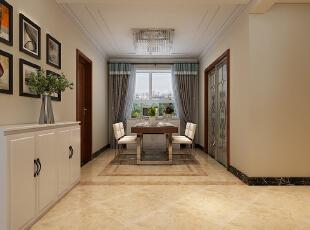 石家庄海棠湾1号楼A1户型三室129平现代装修效果图--餐厅整体装修效果图,