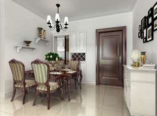 餐桌和餐椅的色调与大门遥相呼应。厨房与餐厅之间以橱柜进行隔断,还能兼收纳功能。 ,