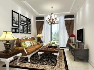 客厅的待客区,地砖采用了和其他地方不一样的色彩,整个功能区域划分非常明显。沙发、客厅灯和茶几的搭配略有几分豪华的意味。,